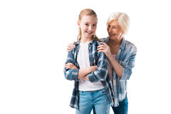 Happy grandmother and granddaughter posing Stock Photos