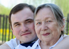 Happy grandmother and grandson Stock Photos