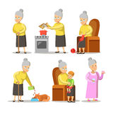 Happy Grandmother with Grandson Cartoon. Senior Woman Lifestyle Royalty Free Stock Photos