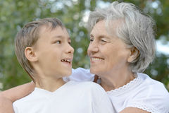 Happy grandmother with grandson royalty free stock photos