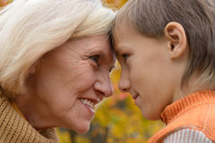 Happy grandmother with her boy Stock Images
