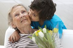 Happy grandmother and her grand son Royalty Free Stock Photo