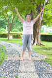 Happy grandmother standing on stone walkway and raise hands Royalty Free Stock Image