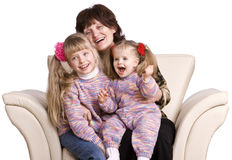 Happy grandmother and two granddaughter. Royalty Free Stock Images