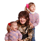 Happy grandmother and two granddaughter. Stock Images