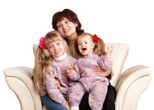 Happy grandmother and two granddaughter. Stock Photo