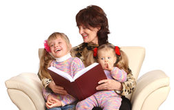 Happy grandmother and two granddaughter. Royalty Free Stock Photo