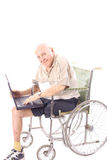 Happy grandpa checking email. Isolated on white Stock Image