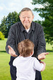 Happy grandpa with open arms Royalty Free Stock Image