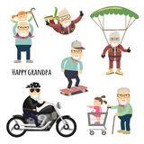 Happy grandpa after retirement. Cool grandpa. Vector set of characters in a flat style royalty free illustration