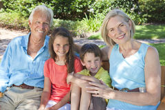 Happy Grandparents and Children Family Outside. An attractive happy, grandparents, grandson and grandaughter children sitting on a bench outside in the sunshine stock photos