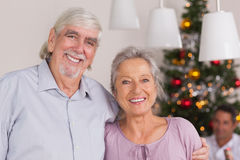 Happy grandparents at christmas Stock Images