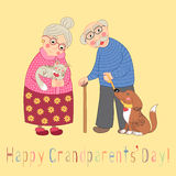 Happy grandparents day card. Poster with cute Stock Images