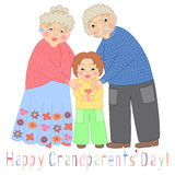 Happy grandparents day card. Poster with cute darling grandmother, grandfather and their grandson Royalty Free Stock Photo