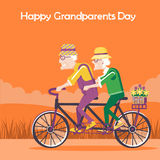 Happy Grandparents Day card.Vector happy family drive by bike Royalty Free Stock Image