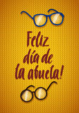 Happy Grandparents Day Greeting Card. Spanish Calligraphy Poster Stock Photos