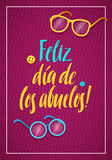 Happy Grandparents Day Greeting Card. Spanish Calligraphy Poster  Royalty Free Stock Images