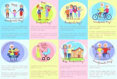 Happy Grandparents Day Senior Couples and Children Stock Image