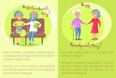 Happy Grandparents Day Senior Couple Walk Together. Happy grandparents day poster with senior lady and gentleman with stick walk together holding hands and Royalty Free Stock Image