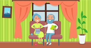Happy Grandparents Day Senior Couple Sit Together. Happy grandparents day poster with senior lady knitting and gentleman reading on sofa, couple sit together in Stock Images