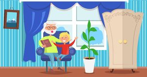 Happy Grandparents Day Grandpa Reading to Grandson. Happy grandparents day poster with senior man reading book to grandson sitting together in armchair in cosy Stock Image