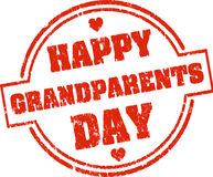 Happy grandparents day red grunge style rubber stamp with hearts Royalty Free Stock Photo