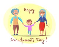 Happy Grandparents Day Senior Couple with Grandson. Happy grandparents day poster with senior couple walking with grandson holding hands vector illustration Stock Photography