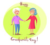Happy Grandparents Day Senior Couple Walk Together. Happy grandparents day poster with senior lady and gentleman with stick walk together holding hands vector Royalty Free Stock Photos