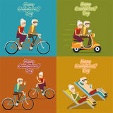 Happy grandparents day vector background, poster. Or post card. Grandmother and grandfather, people old woman and man illustration set Royalty Free Stock Photos