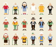 Happy grandparents day. Vector set of characters in a flat style. Happy grandparents. Vector illustration in cartoon style. Grandparents in the standing vector illustration