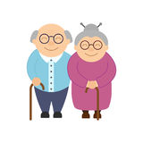 Happy grandparents. Elderly people. Grandparent`s day. Grandfather and grandmother. Vector card on white background royalty free illustration