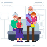 Happy grandparents with grandchildren portrait. Smiling grandma Royalty Free Stock Photo