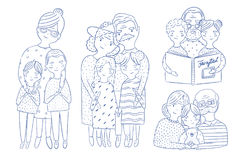 Happy grandparents with grandchildren set. Hand drawn outline illustrations collection. Royalty Free Stock Images