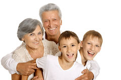 Happy grandparents and grandchildren Stock Photo