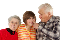 Happy grandparents and granddaughter. Isolated over white Stock Images
