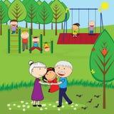 Happy grandparents stock image