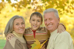 Happy grandparents with grandson Stock Images