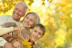 Happy grandparents with grandson Royalty Free Stock Photography