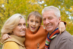 Happy grandparents with grandson Stock Photo
