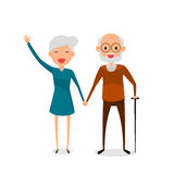 Happy grandparents holding hands standing full length smiling with walking stick. Retired elderly senior age couple. Royalty Free Stock Photo