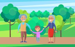Happy Grandparents Senior Couple Walking with Grandson. Holding hands on background of green trees in park vector illustration Stock Photography