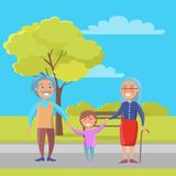 Happy Grandparents Day Senior Couple with Grandson Stock Image