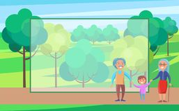 Happy Grandparents Day Senior Couple with Grandson. Happy grandparents senior couple walking with grandson holding hands on background of green trees in city Stock Photography