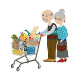 Happy grandparents in the shop. Happy grandparents in a supermarket with a grocery cart royalty free illustration