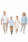 Grandparents and grandchildren holding hands. Happy grandparents walking with grandchildren and holding hands, isolated on white stock image