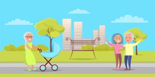 Happy Grandparentson Walk, Senior Lady with Pram. Happy grandparents senior lady with pram taking care about newborn boy, mature couple wave her hands on Royalty Free Stock Images