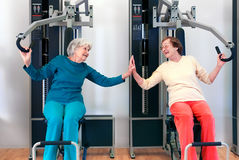 Happy Grannies Enjoying Chest Press Exercise Royalty Free Stock Photo