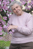 Happy granny. On background of pink flowers Stock Photography