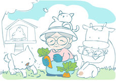 Happy granny gardening with her pet  Royalty Free Stock Image