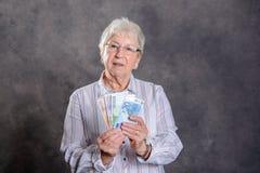 Free Happy Gray Hairy Woman Money Stock Image - 107219881